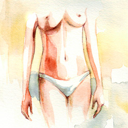 Liposuction Surgery - Post-Op Drawing of Abdomen